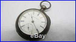 Elgin GM Wheeler KW Key Wind Pocket Watch in Massive 4oz Coin Silver case runs