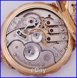 Elgin Heavy Multi Colored 14k Gold Fancy Blue Dial Hunter Box Case Pocket Watch