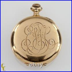 Elgin Open Face 14k Yellow Gold Pocket Watch 15 Jewel Size 0S Monogrammed Case