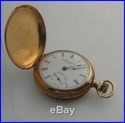 Elgin, Solid 14 Kt. Gold, 7 Jewels-Hunter Case, Ladies Pocket Watch
