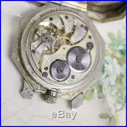Elgin Sterling Travel Case Pocket Watch Engraved Medora Movement 6j Early 1900s