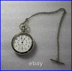 Elgin Veritas Pocket Watch Sterling case 18 Size 21j Lever Set Serviced Railroad