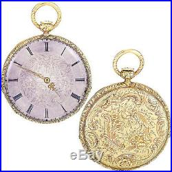 Engraved 18k Gold Case Quarter Hour Pump Repeater Pocket Watch Ca1870s