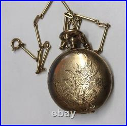 Estate ELGIN Double Hunter Roman Pocket Watch 15 Jewels Gold Plated Case withChain