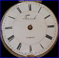 European Verge Fusee Pair Case Pocket Watch Franch London 1740 circa