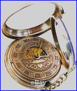 Extremely Rare SUN & Moon Fusee Sterling Pair Case Unique Pocket Watch- Scarce