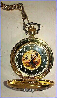 FRANKLIN MINT THE LEGENDS OF THE WEST WYATT EARP POCKET WATCH with LEATHER CASE