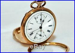 Fabulous Mint 18kt Gold Split Second Chronograph Pocket Watch Tissot Case Runs