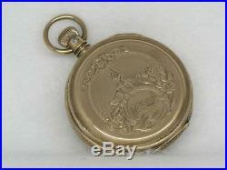 Fancy Dial 18s Solid 8k Hunter Case Elgin Pocket Watch! 109 Grams! Running