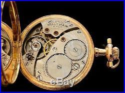 Fancy Waltham 14K Gold Case & Enameled Gold Highlight Dial Pocket Watch 1913