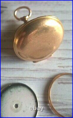 Fine Art Nouveau Gold 18K Enamel Woman Rose Cut Diamonds Fob Pocket Watch Case