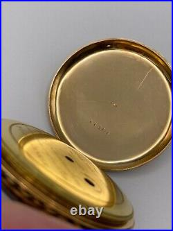 French Solid 18k Gold Pocket Watch with Enamel Decorated Case