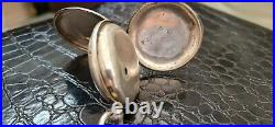 Full Hunter Fusee Pocket Watch Silver Case Diamond End Stone