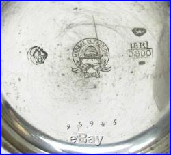 GERMAN 800 SILVER 2 TONE 52mm CASE 15J KEY WIND POCKET WATCH WORKING FINE