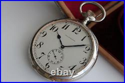 GIANT SIZE 104MM OMEGA 8 DAYS CAL. 30 GOLIATH WATCH SILVER TRAVEL CASE c. 1900