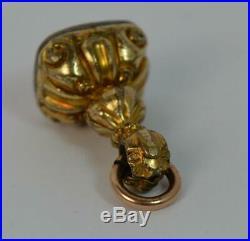 Georgian Gold Cased & Bloodstone Pocket Watch Fob Pendant t0423