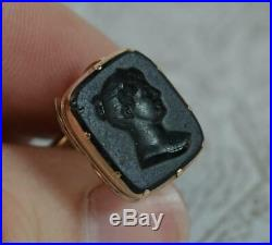 Georgian Gold Cased Pocket Watch Fob Seal with Intaglio of Female Bust t0586