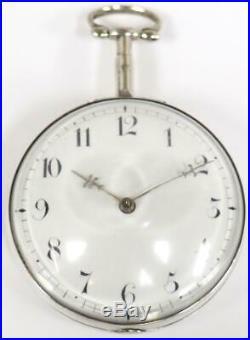Georgian Pair Cased Pocket Watch Fusee Verge Solid Silver Pocket Watch C1804