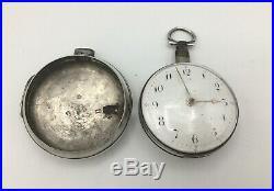 Georgian Pair Cased Verge Fusee Silver Pocket Watch, Case William Howard 1809