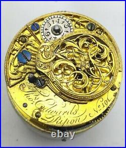 Georgian Silver Ripon Chain Fusee Verge Paul Revere Pair Case Pocket Watch 1775