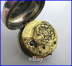 Georgian Solid Silver Pair Cased Pocket Watch London 1791 Dan Hondun