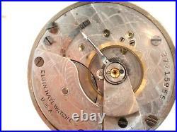 Giant 18SZ Elgin Pocket Watch in Alaska Metal Case. 60.5mm, 7 Jewel, Serviced