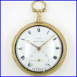 Gilt pocket watch, pair cases, verge John Leroux, London, c1780