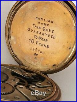 Gold Plated Dennison Case Full Hunter Swiss Made Pocket Watch