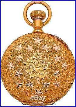Gold Pocket Watch Elgin Rare Fancy Dial 14k Hunters Case
