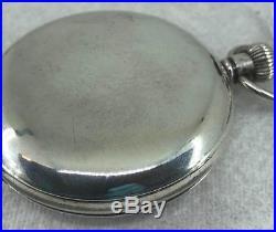 Good English Solid Sterling Silver J. W. Benson Half Hunter Pocket Watch in Case