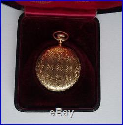 Good Quality Rare Antique 14ct Gold Waltham Hunter Pocket Watch & Box/case