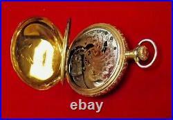 Gorgeous Elgin 0 Size 14k Gold Mulit-Color Antique Hunting Case Pocket Watch