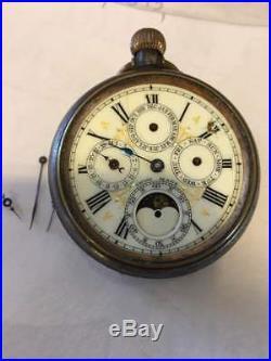 Gun Metal Cased Chronograph PocKet Watch Multi Dial Moon Phase 100gr (J4)