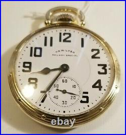 Hamilton 16S. 21 jewel adj grade 992B Railway Special (1954-55) 10K g. F. A case