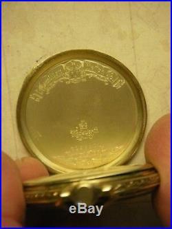 Hamilton, Grade 922, 23J, 14K gold OF Hamilton signed case with original box
