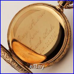 Hampden 14K Tri-Color Solid Gold Hunter Case Pocket Watch 6S 40.5mm 59 grams