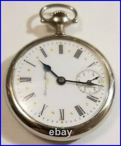 Hampden 16 size 23 jewel adj. N. R. In flag mint fancy dial silverode case (1900)