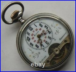 Hebdomas 8 Day's pocket watch open face silver case 50 mm. In diameter