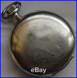 Hebdomas Pocket Watch open face nickel chromiun case enamel dial load manual