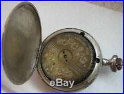 Hebdomas Pocket watch open face nickel chromiun case 50 mm. In diameter