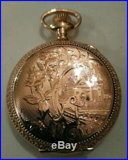 Illinois 0S. 17 jewels adjusted high grade 37(1914) 14K. Gold filled hunter case