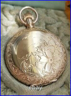 Illinois Pocket Watch 1891-2 with Hunting Case, RARE Case Paper, Orig Box RUNS