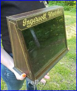 Ingersoll Pocket watch Display Case Advertising Antique Watch Store H. D Beach co