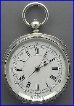 JUST LIKE BRAND NEW! 18s CHRONOGRAPH With SWEEP SEC HAND & STERLING SILVER CASE
