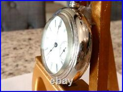 Large, Thick 18 SZ Elgin Pocket Watch in Display Case-Serviced, Runs Good-13 J