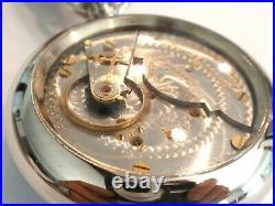 Large18SZ Hampden Pocket Watch in Nice Display Case. 58.7mm, 17 Jewel, Serviced