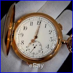 Le Phare 14k Solid 585 Gold Swiss Cased Minute Repeater Chronograph Pocket Watch