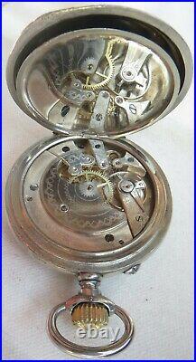 Longines 24 Hours Pocket Watch Open Face Nickel Chromiun Case 55 mm in diameter