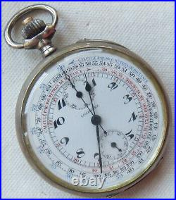 Longines Chronograph Pocket Watch Open Face Silver Case 52 mm. In diameter