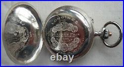 Longines Chronograph Pocket watch open face silver case enamel dial all original